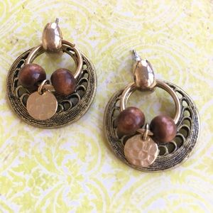 Post Wood Bead Metallic Earrings